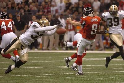 Steve Gleason blocking a punt against the Atlanta Falcons in the Superdome