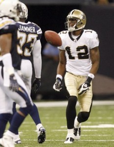 WR Marques Colston received a 15-yard unsportsmanlike conduct penalty