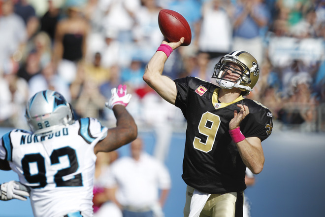 Brees throws against the Panthers