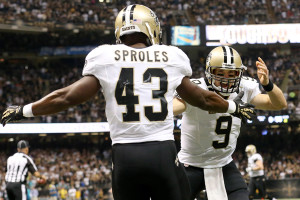 Sproles and Brees Celebrate